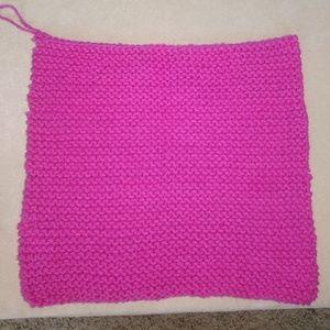 Other - Handknit Pink Cotton Washcloth